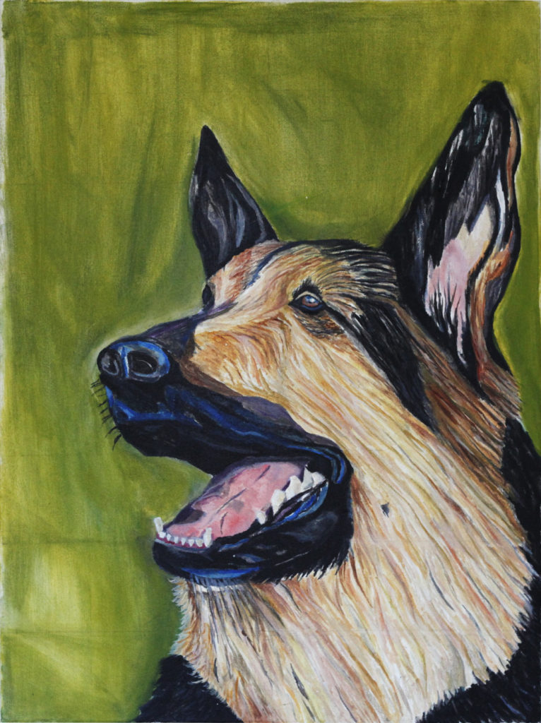 Kalle Karvinen, Police Dog Alfa, 2016, 600 x 810mm, Oil on canvas.